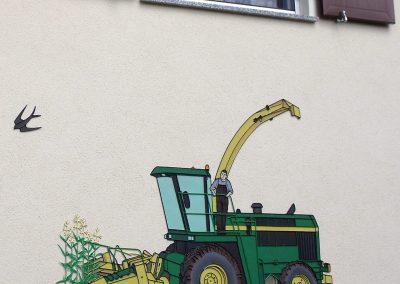 tracteur cuivre peint style fer forgé