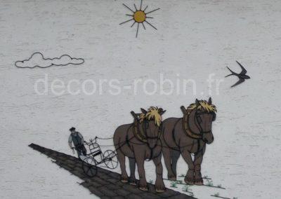 Chevaux charrue labour d'antan Réf.314 D